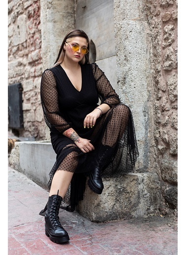 Luokk Gerda  Kendinden Puantiyeli Astmetrik Kesim V Yaka Tül Elbise Siyah